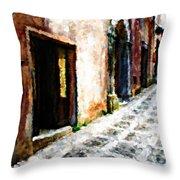 A Painting An Italian Street Throw Pillow