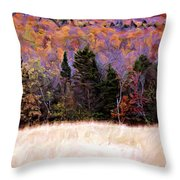 A Painting Autumn Field Throw Pillow