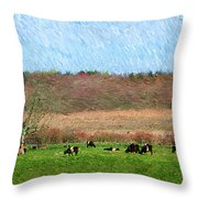 A Painting Cows Grazing And Newport Bridge Throw Pillow