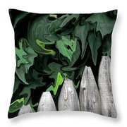 A Painting Fence And Leaves Dali-style Throw Pillow