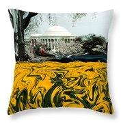 A Painting Jefferson Memorial Dali-style Throw Pillow
