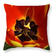 A Painting Red Tulip Throw Pillow