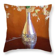 A Painting Silver Vase On Table Throw Pillow