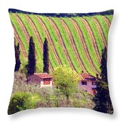 A Painting Tuscan Vineyard Throw Pillow