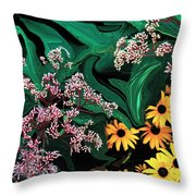 A Painting Wild Flowers Dali-style Throw Pillow