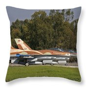 A Pair Of F-16c Barak Of The Israeli Throw Pillow