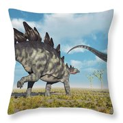 A Pair Of Stegosaurus Dinosaurs Throw Pillow
