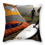 A Pair Of Surfers Prepare To Surf Throw Pillow