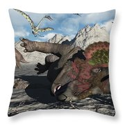 A Pair Of Triceratops Trapped Throw Pillow