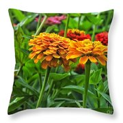 A Pair Of Yellow Zinnias 03 Throw Pillow