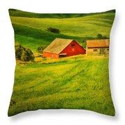 A Palouse Farm Throw Pillow