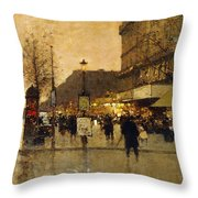 A Parisian Street Scene Throw Pillow