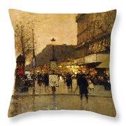 A Parisian Street Scene Throw Pillow by Eugene Galien-Laloue