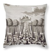 A Parterre With Orange Trees In The Garden Of The Lichtenstein Palace Throw Pillow