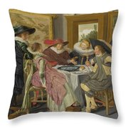 A Party At Table Throw Pillow