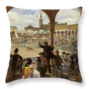 A Pass In The Bullring Throw Pillow