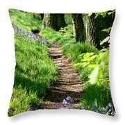 A Path Through An English Bluebell Wood In Early Spring Throw Pillow
