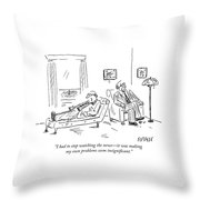 A Patient Talks To His Therapist Throw Pillow
