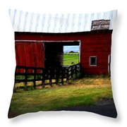 A Peaceful Day With A Barn Throw Pillow by Christine Burdine