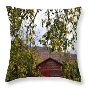 A Peak Of Fall Red Barn Throw Pillow