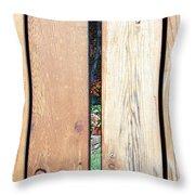 A Peek Through Wood Throw Pillow