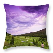 A Person Stand In A Field Watching Throw Pillow