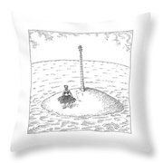 A Person Stands On A Desert Island. The Tree Throw Pillow