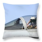 A Pilot Salutes Prior To Take Off In An Throw Pillow