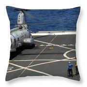 A Plane Captain Signals To A Ch-46e Sea Throw Pillow