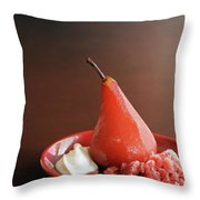 A Poached Pear Throw Pillow