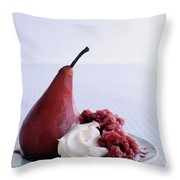 A Poached Pear With Cream Throw Pillow