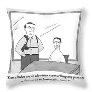 A Policeman Is Seen In An Interrogation Room Throw Pillow