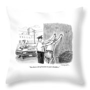 A Policeman Talks To A Man He Is Frisking Or Throw Pillow