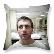 A Portrait Of A Young Man Sitting Throw Pillow