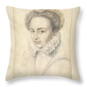 A Portrait Of A Young Woman In A Ruffled Collar Throw Pillow