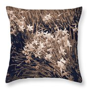 Clusters Of Daffodils In Sepia Throw Pillow