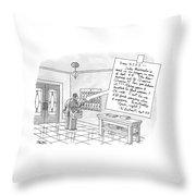A Postman Reads A Letter Left Throw Pillow