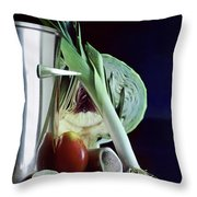 A Pot With Assorted Vegetables Throw Pillow