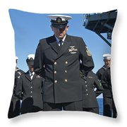 A Prayer Is Delivered During A Burial Throw Pillow