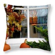 A Pretty Autumn Window Throw Pillow