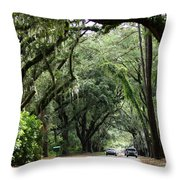 A Pretty Tree Covered Road Somewhere On Hilton Head Island Throw Pillow
