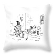 A Prisoner Is Seen Stretching On A Torture Rack Throw Pillow