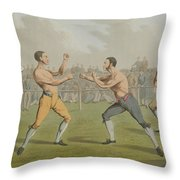 A Prize Fight Aquatinted By I Clark Throw Pillow by Henry Thomas Alken