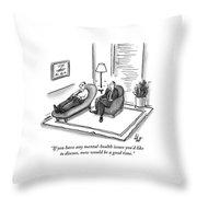 A Psychiatrist Speaks To A Man On The Sofa Throw Pillow
