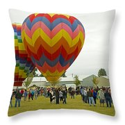 Albany Oregon Art And Air Show Hot Air Balloon Lift Off Throw Pillow