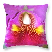 A Purple Cattelaya  Orchid Throw Pillow