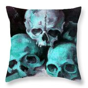 A Pyramid Of Skulls After Cezanne Throw Pillow