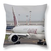 A Qatar Airways Cargo Boeing 777 Throw Pillow