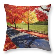 A Quiet Autumn Road Throw Pillow