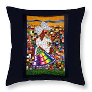 A Quilter's Dream Throw Pillow by Aisha Lumumba